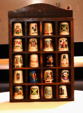 Vintage Porcelain/Ceramic Collection of 20 thimbles with display rack