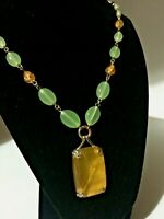 Vintage CORO Art-deco - Jade & Amber Glass Beaded Pendant Necklace