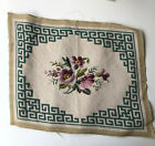 Vintage Floral Greek Key Needlepoint Canvas by Tapestry Seat Cover Wall Decor
