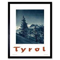 Travel Tyrol Austria Alpine Mountain Snow Pine Tree 12X16 Inch Framed Art Print