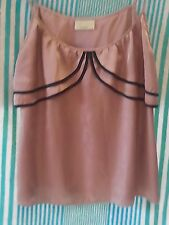 Review Ladies Vintage Cami Top in a Gold Pinstripe Fabric with Black Trim Size12