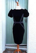 Ted Baker Wiggle Vestido De Terciopelo Negro Estilo Vintage 30s/40s Talla 2/10