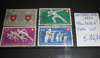 "FRANCOBOLLI STAMPS SVIZZERA SWITZERLAND 1950 ""PRO PATRIA"" USED LOT (CAT.A)"