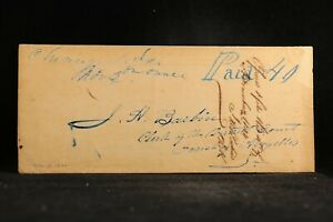 Louisiana: Cheneyville 1844 Stampless Cover, Blue Ms, Fancy Large Paid 40