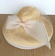 Mr. John Vintage Woven Straw Hat Wide Brim Beige/White Bow & Rhinestones Derby