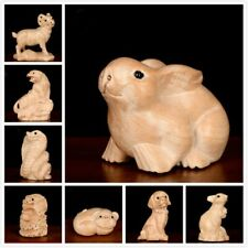 Mahogany Zodiac Statue Ornaments Feng Shui Chinese Animals Sculpture Crafts Chic