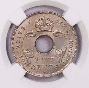 NGC-MS63/64  1913H/1911H EAST AFRICA  5+10CENTS 2PCS LOT BU