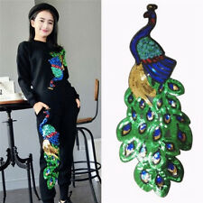 Women Sequin Peacock Embroidery Applique Patch Sew On Clothes Accessory Diy HGUK
