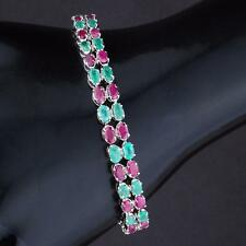 AAA Luxurious Natural Colombian Emerald Ruby Tennis Bracelet 925 Sterling Silver