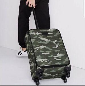 New Victoria's Secret PINK Carry On Luggage Bag Camo Print Wheelie Rolling Bag