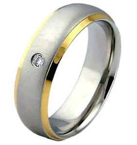 Matte Polished Titanium RING with Round CZ & Gold Plated Edges in Selected Sizes