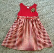 French Boutique Babine Bb Red Gingham Plaid Dress 8 Yrs Flower Beautiful EUC BTS