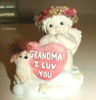 "Vintage Dreamsicles Cherub Angels Grandma "" I Luv You "" with Puppy Christmas 98"