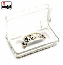 Custom Grillz White Gold Plating Diamond Cut Plain Bottom Grillz Teeth S001 Cut5
