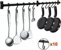 Pot Bar Kitchen Storage Hanging Rack Holder Pan Hanger Shelf Cookware 10 S Hook