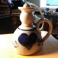 Vtg 1995 Rowe Pottery Works Salt Glaze Heart Stoneware Crock WITH TOP