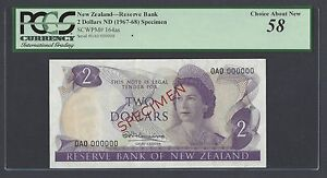 New Zealand 2 Dollars 1967-68 P164as Specimen About Uncirculated