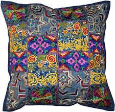 """Blue 16"""" Handmade Cushion Pillow Cover Patchwork Throw Ethnic Indian Decor"""