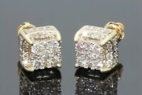 Hip Hop 18K Yellow Gold/Silver Princess Cut White Sapphire Earrings Jewelry Gift