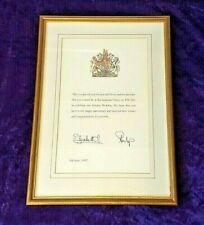 1997 Queen Elizabeth II signed Golden wedding letter