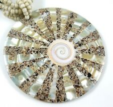 MOTHER-OF-PEARL, SHIVA EYE & SEA SHELL  necklace  EA075