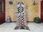 "Boujad Rug 2'7""x8'3"" Berber Moroccan Bohemian Wool Checkered Handmade Tribal Rug"