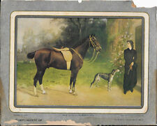 R. Atkinson Fox, Horse, Lady, Greyhound/Whippet, Cottage Calendar Top Print 1920
