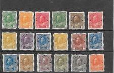 CANADA GEORGE V ADMIRAL DEFINITIVES,SCOTT 104-122 MNH. 1911-1925.