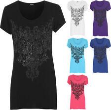 Hip Length Short Sleeve Beaded Tops & Shirts for Women