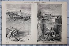 1868 stampa sottomarino locomozione costruire una diga ~ la riparazione del pavimento di LOCK