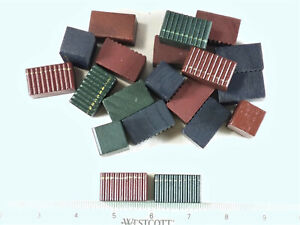 DOLLHOUSE MINIATURE WOOD FAUX BOOK STACKS, MERLOT, GREEN, NAVY 10 PIECES- NEW