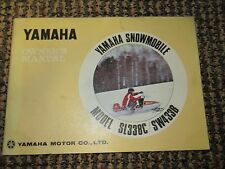 YAMAHA SL338C & SW433B SNOWMOBILE OWNER'S MANUAL