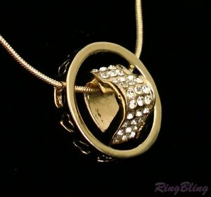 REDUCED! Love Hearts Necklace 18K Gold Plate Pendant Charm with Crystal. 70% OFF