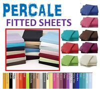 FITTED SHEET PERCALE SINGLE DOUBLE KING SUPER KING 4ft SMALL OR PILLOWCASES PAIR