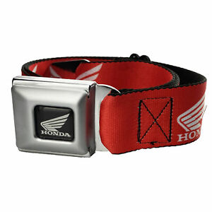 Red Honda Motorcycle Seatbelt Seat Belt White Wing Logo Official Buckle-Down