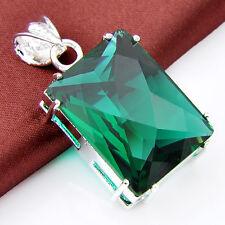 Xmas Jewlery Rectangle Shaped Emerald Topaz Gemstone Silver Necklace Pendant New