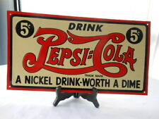 Vintage Style Image Pepsi Cola Metal Tin Five Cent Advertising Sign