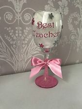Personalised Wine Glass - Best Teacher Any Name And Colour