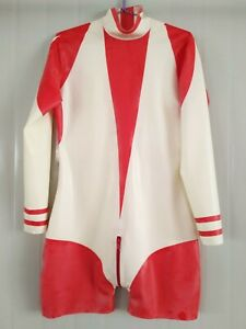 100% Latex Rubber Red&White Boxer fitness clothing Suit Tight Zipper 0.4mm S-XXL