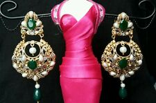 Indian Kundan Style Earrings Brand New (Green) More colours available
