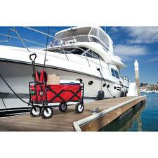 Techtongda  Folding Garden Cart Multifunctional Utility Outdoor  Red Lawn Wagon