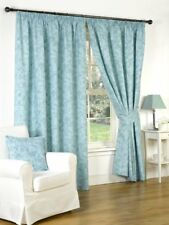 GENESIS TEAL 66 x 90 PENCIL PLEAT FULLY LINED CURTAINS HEAVY LUXURY QUALITY