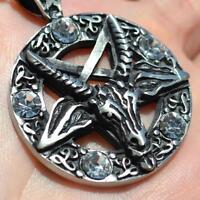 Satanique Goat/'s Head Pentagram Baphomet Lucifer Occulte Sorcière Collier Pendentif Neuf