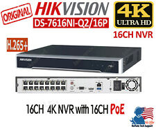 Hikvision 16 Channel 4k 8MP NVR with PoE H.265+ DS-7616NI-Q2/16P (No Hard Drive)