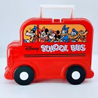 Vintage Disney Red School bus Lunchbox Plastic Mickey, Donald etc w/ thermo. E14
