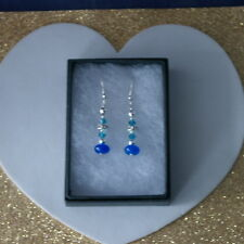 Beautiful Earrings With Sapphire & Crystal  3 Gr.3.4 Cm Long+Silver Hooks In Box