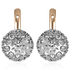 Russian Style 14k Solid Rose & White Gold Genuine 2.16ct G SI1 Diamond Earrings