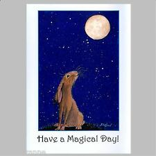 Large Moon Gazing Hare Greetings Birthday Card From Painting by Suzanne Le Good