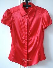 #R056 ♥ NEW MNG Mango Sexy Red Satin Collared Button Blouse Top S