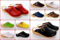 Genuine Leather Hand Made Clogs Healthy & Comfortable Wooden Sole Shoes D4